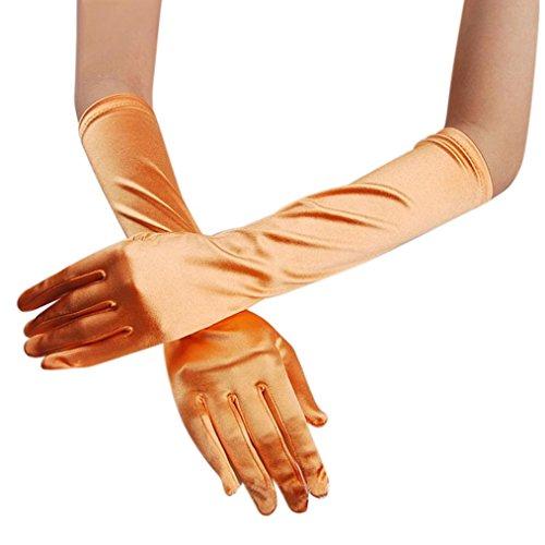 Amcool Damen Satin lange Handschuhe Hochzeit Brauthandschuhe Abend Party Prom Kostüm Handschuhe (Orange) (Abend Handschuhe Lang)