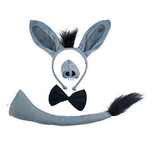 Toyvian Kinder Kostüme Esel Kopf Stirnband mit Ohren Schwanz Fliege Nase Tier Cosplay Party Kostüm 4 Stück (Grau) (Tierische Ohren Kostüm)