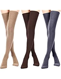 7759f1e78 3 Pairs Women Extra Long Cotton Socks Thigh High Socks Over Knee Boot Socks  for Women