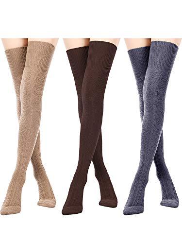 3 Paar Damen Extra Lange Baumwoll Socken Oberschenkel Hohe Socken Über Knie Boot Socken für Damen Mädchen Winter (Schwarz, Weiß, Weinrot)