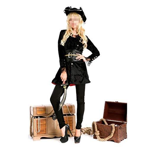 Pharao Kostüm Weiblich - Frauen Neue Halloween Rock Set Cosplay Party Kostüm Taille Weibliche Piratenkostüm Bühnenauftritt mit Hut Kleidung (Color : Black)
