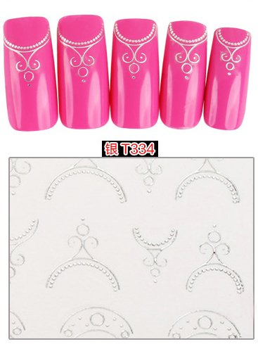 Stickers Pour Ongles avec des - T334 Silver Nail Sticker Tattoo - FashionLife