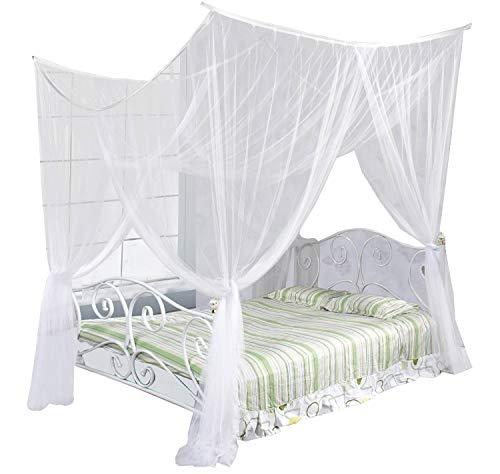 Just Relax Four Corner Post Elegant Mosquito Net Bed Canopy Set, White, Full/Queen/King - 4 Poster Queen-bett