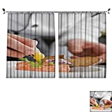 prunus Rideau de fenêtre étanche pour yogourt Blueberry Blanc Sommeil Bien occultant Rideau avec Crochet pour Chambre à Coucher W63 xL63 Color09