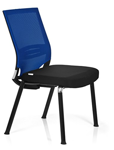 Cheapest hjh OFFICE, 657252, Visitor Chair, Conference Chair, PORTO V BASE, blue, mesh, fabric, comfort guest chair with stable cantilever frame, ergonomic back rest mesh breathable and lumbar support, thick padded, not stackable Reviews