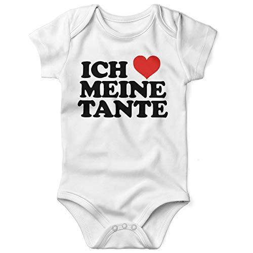 Liebe Meine Kostüm Mama Ich - Mikalino Babybody mit Spruch für Jungen Mädchen Unisex Kurzarm Ich Liebe Meine Tante | handbedruckt in Deutschland | Handmade with Love, Grösse:56, Farbe:Weiss