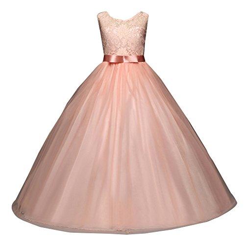 Mädchen Lange Spitzenkleid Tüllkleid Blumenspitze Prinzessin Kleid Hochzeit Partykleid Brautjungfern Abendkleider 170cm 6Pink (Kinder Kleider)