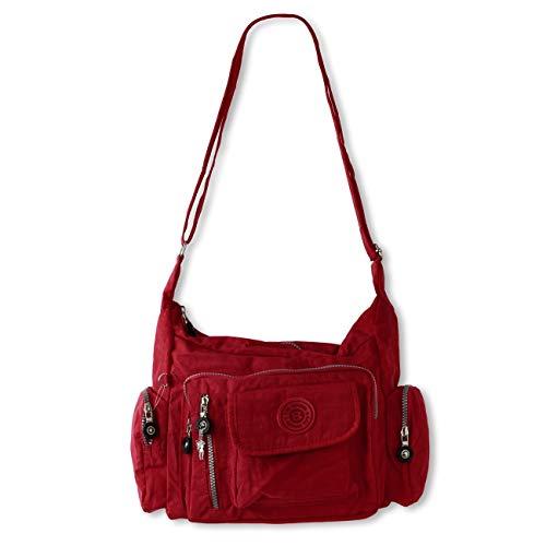 Bag Street Umhängetasche Bodybag Nylon, Rot, 30x15x22cm