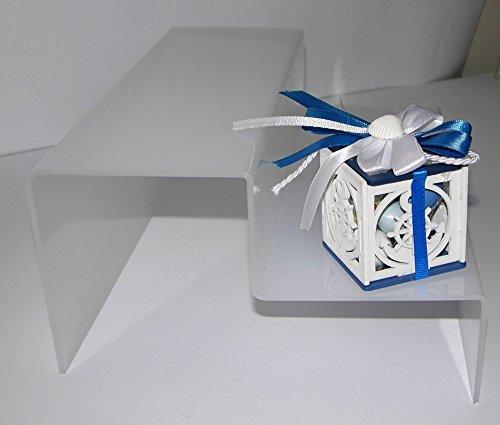 Dmd espositore a scaletta in plexiglass bianco n. 2 ripiani largh. cm. 8 ca. dimensioni totali cm. 30 lungh.x cm. 16 h x cm. 16 largh.