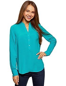 oodji Collection Mujer Blusa Básica de Viscosa