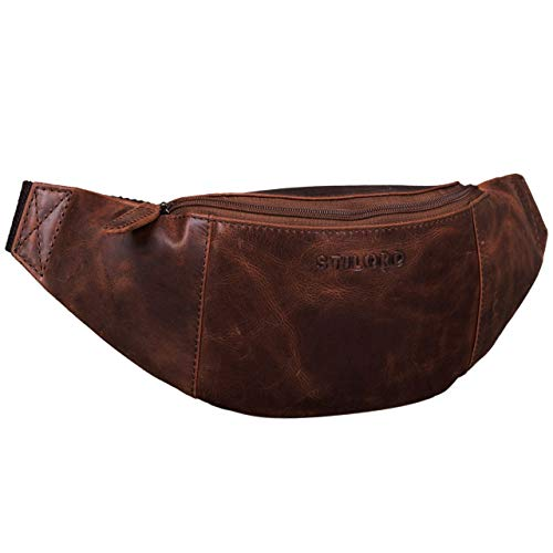 STILORD 'Shawn' Riñonera Cuero Grande Vintage para Festivales Deporte Bolso Cintura Bum Bag auténtica Piel, Color:Zamora - marrón