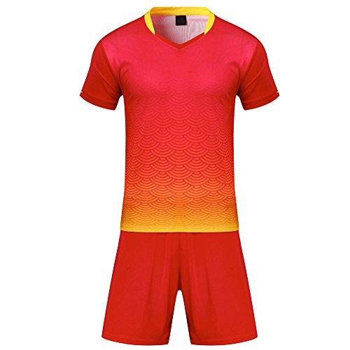 BOZEVON Kinder Jungen Fussball Trikots Eltern-Kind-Ausrüstung von Männer Sports Trainingstrikots Trikot und Hose, Rot,EU 4XS=Tag 3XS, Kind(115-125CM)