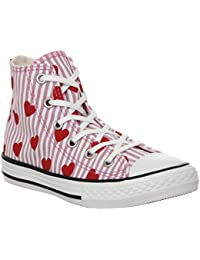 9d15964c01c Converse 663993C Rose Rouge Blanc Rose Coeurs Chaussures Fille All Star Mid  Lacets