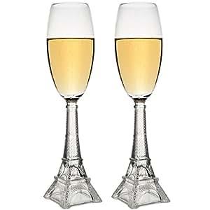 Flûtes à champagne Tour Eiffel Coffret de 2 coupes Transparent Verre La chaise longue 34-2K-001