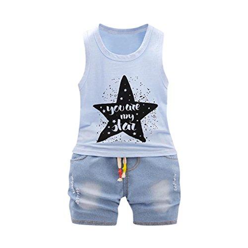 Babykleidung Neugeborenes Brief Tops Weste + Shorts Outfits Kleidung Set Mädchen Shorts Tops Hose Outfits Sommer Kinderbekleidung Boy Set (12M-4T) LMMVP (Blau, 100CM ()