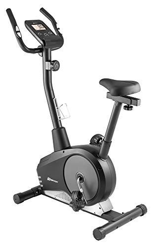 Hop-Sport Heimtrainer Spark Fitness-Bike mit Pulssensoren & Computer - 8 Widerstandsstufen - Hometrainer mit Magnetbremssystem und 9 Kg Schwungmasse (Silber)