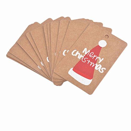 Souarts Papier Kraft Etiquettes Cadeaux Balise Gift Tags Motif Chapeaux de Noël Retangle 50pcs