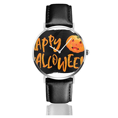 Business Analog Watches,Grunge Style Halloween with Pumpkin Classic Stainless Steel Quartz Waterproof Wrist Watch with Leather Strap