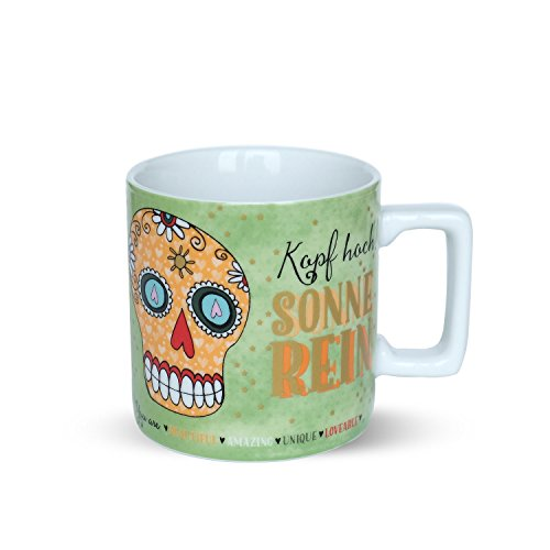 Sugar Skulls 45027 Tasse mit Motivdekor: Kopf hoch! Sonne rein. You Are Beautiful, Amazing, Unique, Loveable, Porzellan, Mehrfarbig