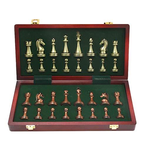 DUOER home Schach Metall glänzende Schachfiguren aus massivem Holz Klappschachbrett Hochwertiges professionelles Schachspielset Traditionelle Spiele -
