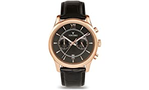 Vinceo Luxury Men's Bellwether Wrist Watch - Rose Gold with Black Leather Watch Band - 43mm Chronograph Watch - Japanese Quartz Movement