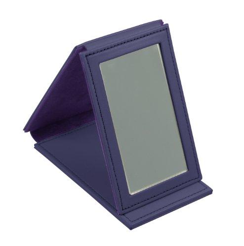 Lucrin Trousse à Maquillage Miroir Rectangulaire de Poche Cuir Vachette Lisse 11 cm Pourpre (Violet) PM1095_VCLS_VLT