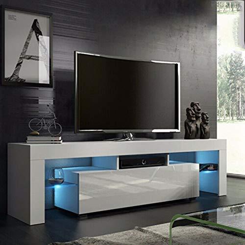 138x45x14cm mobile tv con led, mobile porta tv moderno con led e cassetto, supporto da tavolo tv, mobile tv con telecomando 110v-240v