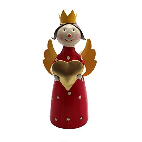 Gall&Zick Deko Figur Engel Blechfigur Zaunhocker Dekoration Metall Handbemalt Bunt Garten Wohung Weihnachtsdeko (Farbauswahl) (Rot)