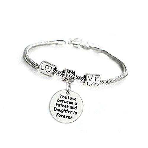 Xwanli inspirational motivational love tra padre e figlia è per sempre inciso braccialetto gioielli di famiglia