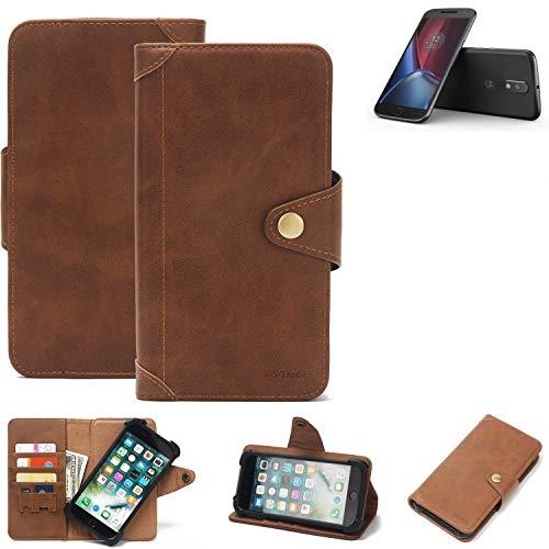 K-S-Trade Handy Hülle für Lenovo Moto G (4. Gen.) Plus Schutzhülle Walletcase Bookstyle Tasche Handyhülle Schutz Case Handytasche Wallet Flipcase Cover PU Braun (1x)