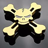 Gold-Skull Design Cool Fashion Skull Design Fidget Hand Spinner EDC Toy For ADD, ADHD Anxiety Autism Boredom Stress Focus Children And Adults - Gold