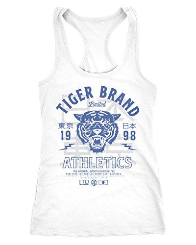 Neverless Cooles Damen Tank-Top Tiger Brand Tokyo Supply Japan Athletic Sport Muskelshirt Muscle Shirt Weiß-Blau M - Tiger Damen Tank Top