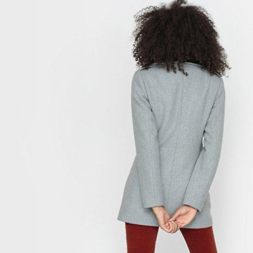 R Essentiel Frau Mantel, 50 Wolle, Asymmetrische Offnung Grau