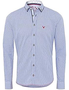 Pure Moser Trachten Trachtenhemd Langarm Blau Karo-Rot Slimfit 112541 von, Material Baumwolle, Liegekragen