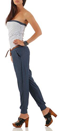 malito Damen Einteiler mit Punkten | Overall im Jeans Look | Jumpsuit mit Gürtel | Hosenanzug �?Playsuit 9651 Weiß