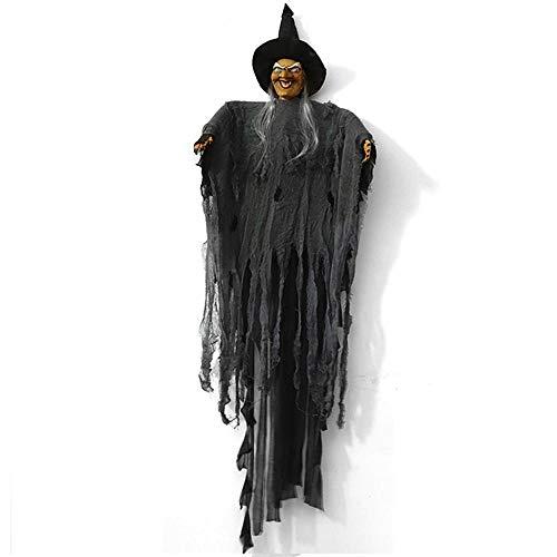 Lesgos Halloween Hexe Prop, beängstigend hängen Deelatus Puppe, lebensechte Kopf, Stimme glühend mit steuerbaren Schalter, Spuk haus Hof beängstigend Outdoor Dekoration Hexe Puppet