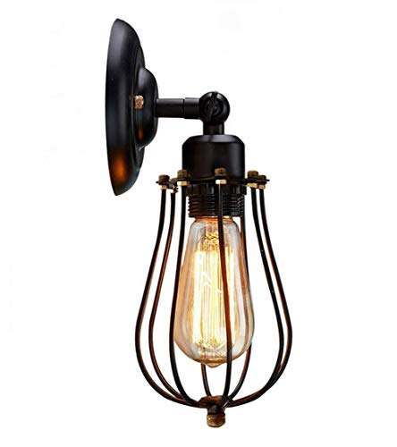 e Industrial Wall LAMP Art Deco, Industrial Style Metal CAGE LOFT Hanging Light Fixture Suitable for Hallway, Study, Room, Office, Bedroom ()