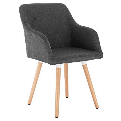 WOLTU 1x Esszimmerstühle Küchenstuhl Wohnzimmerstuhl Design Stuhl Polsterstuhl mit Armle