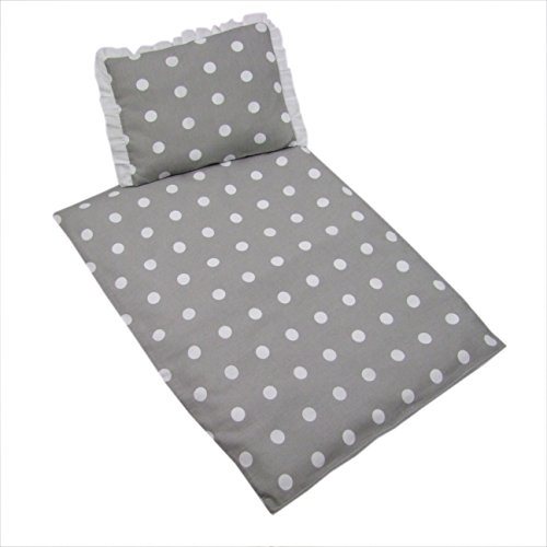 Rawstyle 4 tlg. Set Bezug (Grau + Punkte Weiß) für Kinderwagen Garnitur Bettwäsche Decke + Kissen + Füllung