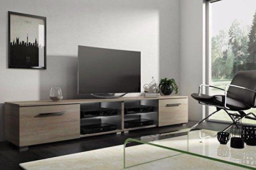 Tenus Double - Meuble TV/Banc TV (200 cm, Effet chêne)