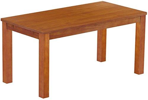 Brasilmöbel Esstisch Rio Classico 160x80 cm Kirschbaum Holz Tisch Pinie Massivholz Esszimmertisch Küchentisch Echtholz Größe und Farbe wählbar ausziehbar vorgerichtet für Ansteckplatten (Kirschbaum Stühle Esszimmer)