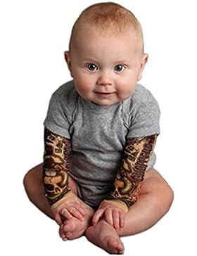 Omiky® Säuglings-Baby-Kühle Jungen-Lange Hülsen-Spleiß-Druck-Spielanzug-Overall-Kleidung