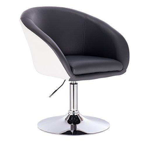 WOLTU® BH10grw Barsessel 1er Set, stufenlose Höhenverstellung, verchromter Stahl, Kunstleder, gut gepolsterte Sitzfläche mit Armlehne und Rücklehne, 2 farbig, Grau+Weiß