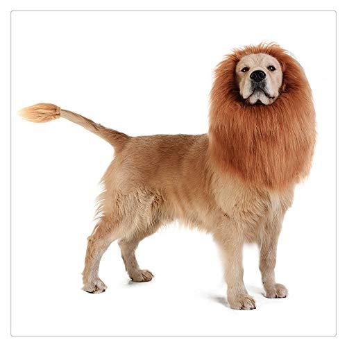 Z-one 1 Lion Mane Masks Kostüm für Hunde - Lion Dog Kostüm Lustige verstellbare Perücke Leicht zu montierende mittelgroße bis große Hunde für Halloween