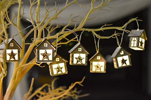 Valery Madelyn 1,5M 10 LEDs Lichterketten Weihnachtsdekoration Holz Weihnachtsdeko In den Wald Thema Weihnachten Warme Batteriebetriebene Beleuchtung Häuse mit Sterne für Weihnachtsbaum