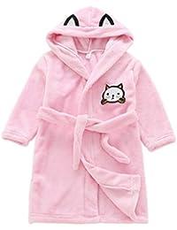 Albornoz para niños Cat Fleece Sleepwear Cómoda ropa para dormir con capucha para niño