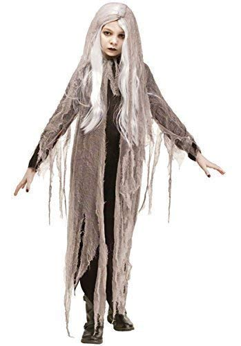 Kinder Mädchen Netzgewebe Zombie Geist Perücke Halloween Kostüm Kleid Outfit - grau, 4-6 Years