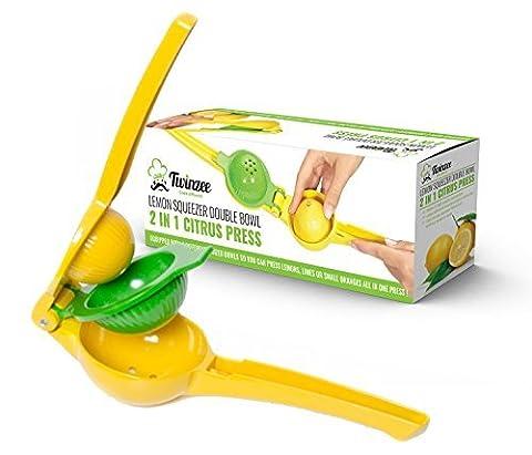 Twinzee Lemon Manual Squeezer - Citrus Press - Unique Design 2 Bowls Built-In-1 Lemon Squeezer - Made From Aluminum
