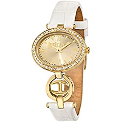 Just Cavalli Just Icon Women's Quartz Watch with Gold Dial Analogue Display and White Leather Strap R7251214502