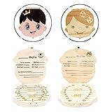 Milchzähne Box - INTVN 2 Stück Baby Milchzahndose Box Organizer, Kinderzähne Box, Milchzahndose Zähne Box für Baby Save Box Organizer für Baby Girls Boys